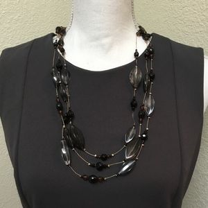 5/$25 Floating Illusion Necklace - Black & Gray